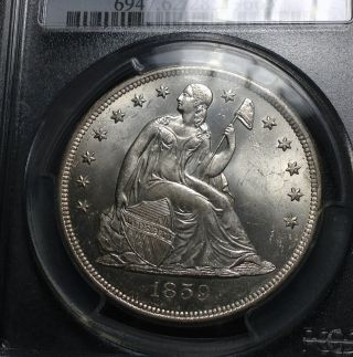 1859 O Pcgs Ms - 62 Seated Liberty Dollar photo