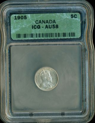 1905 Canada Five Cent Piece,  Edward Vii,  Icg Certified Au - 58 photo