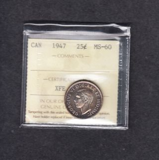 1947 Canada Iccs Graded Silver Quarter Ms 60 photo