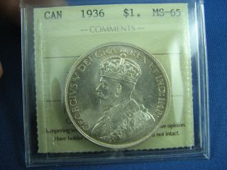1936 Dollar Canada Iccs Ms 65 Flashy Toning photo