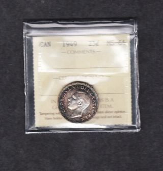 1949 Canada Iccs Graded Silver Quarter Ms 64 photo