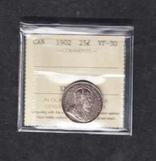 1902 Canada Iccs Graded Silver Quarter Vf - 30 photo