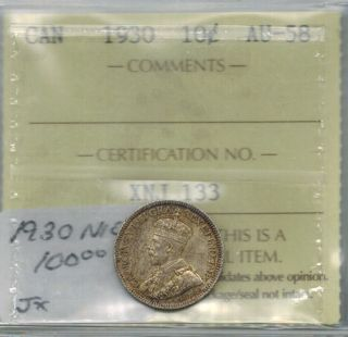 Canada 1930 10 Cents Dime Silver Graded Iccs Au 58 Almost Unc photo