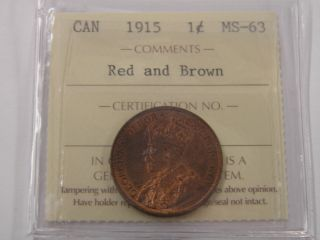 Iccs Canada 1 Large Cent Ms 63 Red Brown 1915 photo