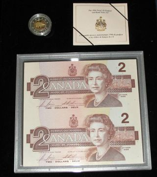 1996 Canada $2 Dollars Piedfort Coin Proof $2 X 2 Uncut Bancnotes photo