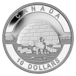 2014 O Canada $10 Igloo Coin, ,  Case,  99.  99 Silver,  1st In Series,  No Tax photo