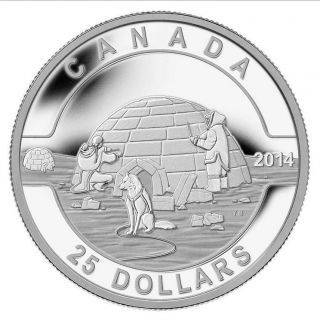 2014 O Canada $25 Igloo Coin, ,  Case,  99.  99 Silver,  1st In Series,  No Tax photo
