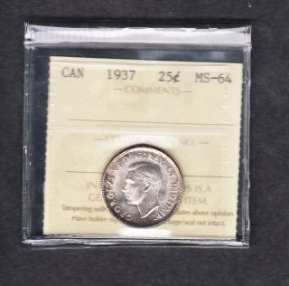 1937 Canada Iccs Graded Silver Quarter Ms 64 photo