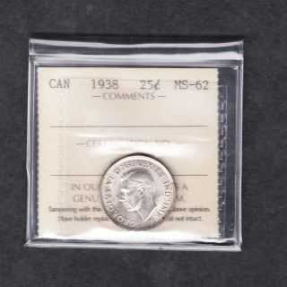1938 Canada Iccs Graded Silver Quarter Ms 62 photo