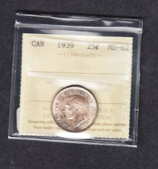 1939 Canada Iccs Graded Silver Quarter Ms 62 photo