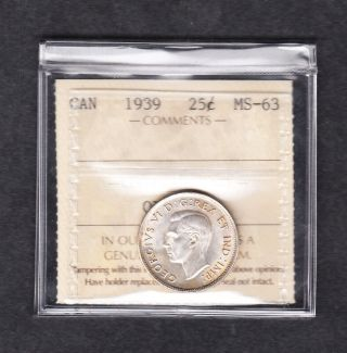 1939 Canada Iccs Graded Silver Quarter Ms 63 photo
