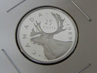 1989 Proof Unc Canadian Canada Caribou Quarter Twenty Five 25 Cent photo