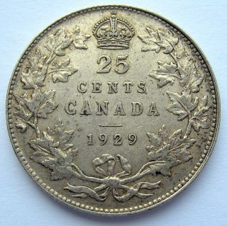 1929 Twenty - Five Cents Ef - 40 Beauty King George V Canada Quarter photo