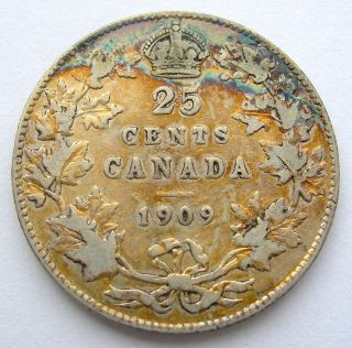 1909 Twenty - Five Cents F - 12 Beautifully Toned Better Date Edward Vii Quarter photo