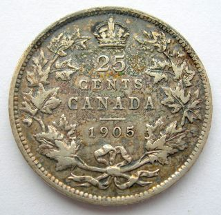 1905 Twenty - Five Cents F - 12 Iridescent Beauty Better Date Edward Vii Quarter photo