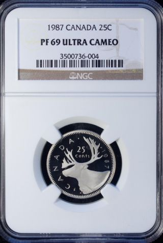 1987 Canada 25 Cents Ngc Pf 69 Ultra Cameo Unc photo