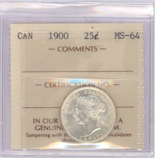 25 Cent Canada 1900 Graded By Iccs Ms - 64 photo