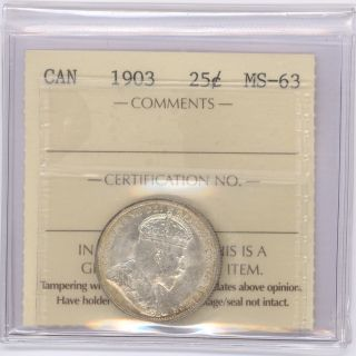 25 Cent Canada 1903 Graded By Iccs Ms - 63 photo