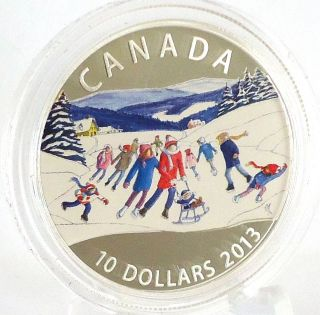 2013 Winter Scene $10 Fine Silver Commemorative Coin With Color Only 8000 Minted photo