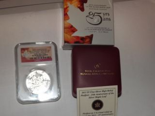 2013 Canada Maple Leaf,  Piedfort High Relief,  Pf70 Uc Er,  25th Anniversary photo
