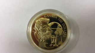 1997 $100 Canadian Gold Coin A.  G Bell 150th Anniversary,  Box photo