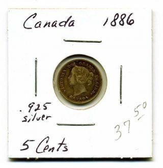 Canada 5 Cents.  925 Silver 1886,  Fine+ photo