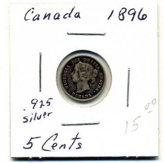 Canada 5 Cents.  925 Silver 1896,  Fine photo