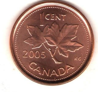 2005 - P Canada Brilliant Uncirculated Elizabeth Ii Cent Coin photo