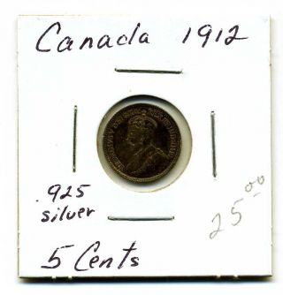 Canada 5 Cents.  925 Silver 1912,  Xf+ photo