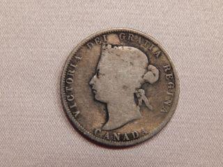 1874 H Canada Quarter Queen Victoria 25 Cents photo