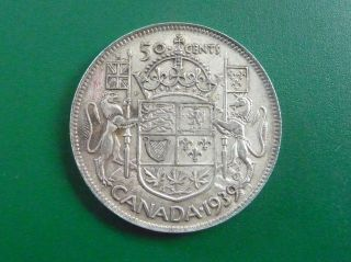 1939 Silver Canadian 50 Cent Piece photo