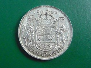 1940 Silver Canadian 50 Cent Piece photo