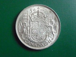 1941 Silver Canadian 50 Cent Piece photo