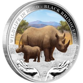2012 Black Rhinoceros Wildlife In Need 1 Oz. .  999 Fine Silver Proof Box photo