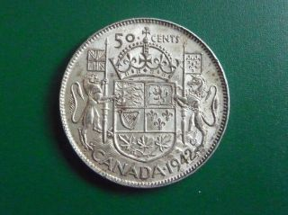 1942 Silver Canadian 50 Cent Piece photo