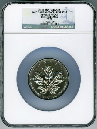 2013 Canada 5 Ounce Silver Maple Leaf Ngc Pf70 Reverse Proof 25th Anniversary Fr photo