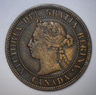 1888 Large Cent Canada Queen Victoria 1c Vf Very Fine photo