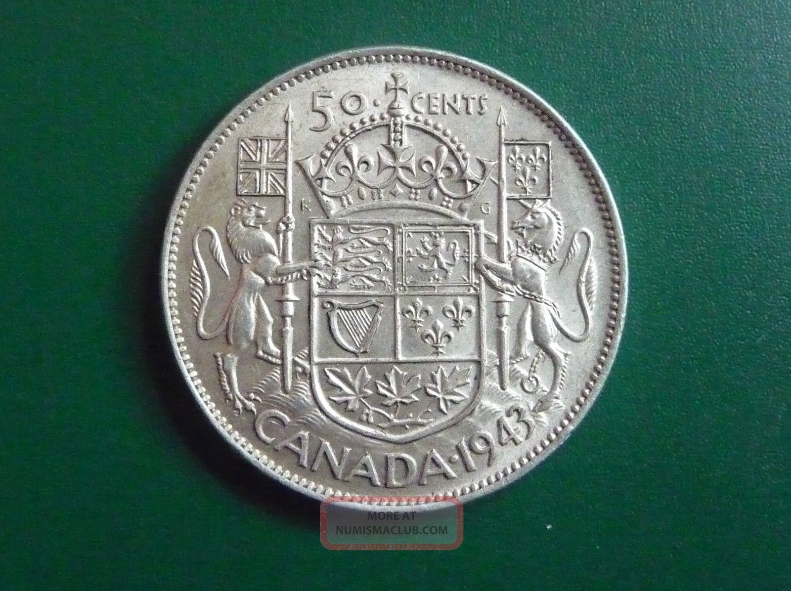 1943 Silver Canadian 50 Cent Piece