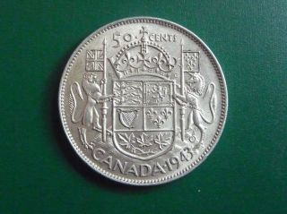 1943 Silver Canadian 50 Cent Piece photo