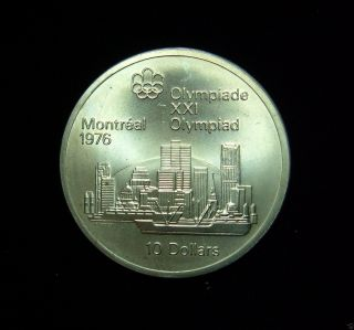 Canada 1973 10 Dollars Coin.  925 Silver Pf 1976 Summer Olympics Montreal Skyline photo