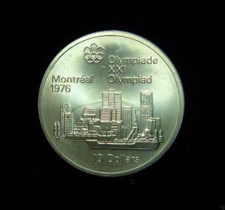 Canada 1973 10 Dollars Coin.  925 Silver Pf 1976 Summer Olympics Montreal Skyline photo