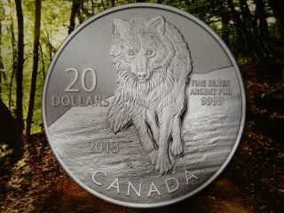 2013 - 1/4 Oz $20 Wolf Canadian Fine Bullion Silver 0.  9999 Coin With photo