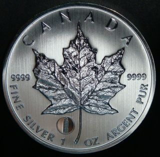 2012 - 1 Oz Canadian Maple Leaf Leaning Tower Of Pisa Privy Bu Fine Silver Coin photo
