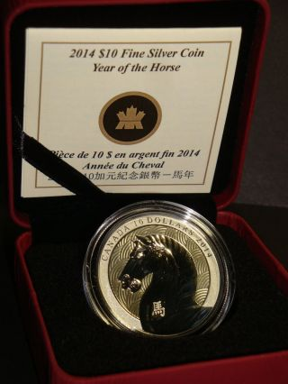 2014 - 1/4 Oz Canada $10 Year Of The Horse Proof Fine Bullion Silver Coin photo