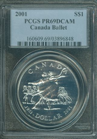 2001 Canada Silver $1 Dollar Ballet Error Pcgs 69 Dcam Should Be Sp - 69. photo