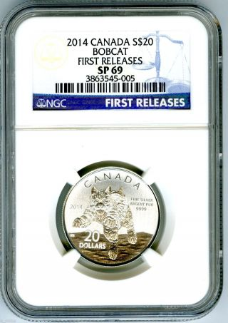 2014 $20 Canada Silver Bobcat Lynx Ngc Sp69 First Releases Blue Label 1/4 Ounce photo