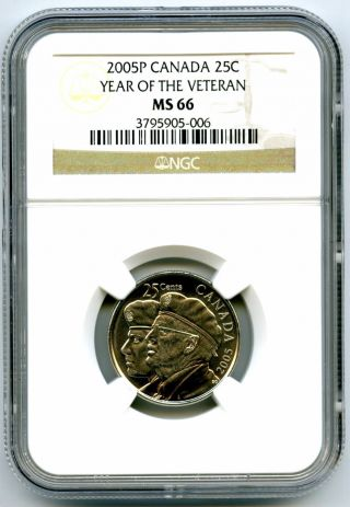 2005 P Canada 25 Cent Ngc Ms66 Year Of The Veteran Quarter Certified photo