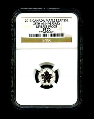 2013 Canada Silver Maple Leaf Ngc Pf70 Reverse Proof 25th Anniversary 1/20 Ounce photo