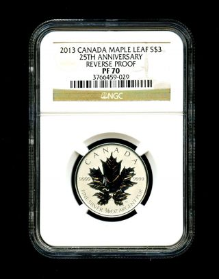 2013 Canada Silver Maple Leaf Ngc Pf70 Reverse Proof 25th Anniversary 1/4 Ounce photo