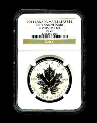 2013 Canada Silver Maple Leaf Ngc Pf70 Reverse Proof 25th Anniversary 1/2 Ounce photo